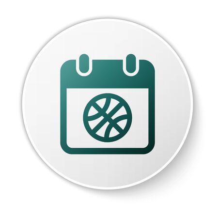 Green Basketball on sport calendar icon isolated on white background. White circle button. Vector Illustration Stok Fotoğraf - 134617405
