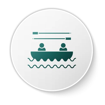 Green Boat with oars and people icon isolated on white background. Water sports, extreme sports, holiday, vacation, team building. White circle button. Vector Illustration