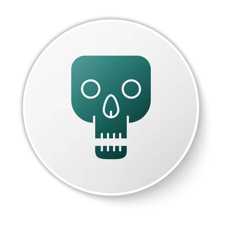 Green Skull icon isolated on white background. Happy Halloween party. White circle button. Vector Illustration Ilustrace
