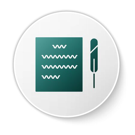 Green Feather pen and paper scroll icon isolated on white background. White circle button. Vector Illustration