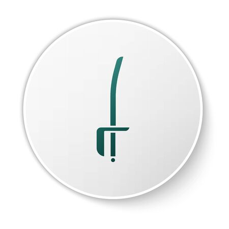 Green Pirate sword icon isolated on white background. Sabre sign. White circle button. Vector Illustration
