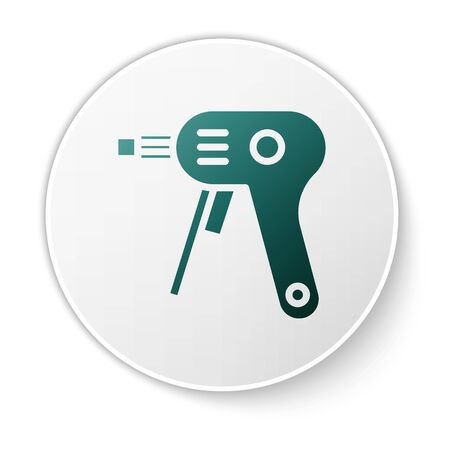 Green Electric hot glue gun icon isolated on white background. Hot pistol glue. Hot repair work appliance silicone. White circle button. Vector Illustration