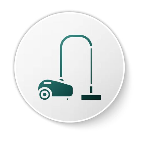 Green Vacuum cleaner icon isolated on white background. White circle button. Vector Illustration