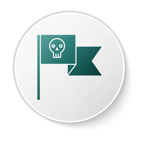 Green Pirate flag with skull icon isolated on white background. White circle button. Vector Illustration