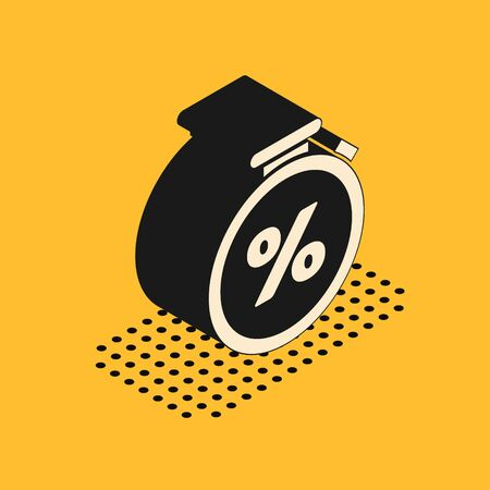 Isometric Stopwatch and percent discount icon isolated on yellow background. Time timer sign.  Vector Illustration