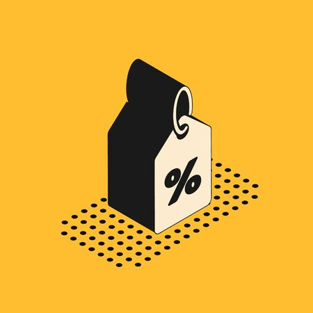Isometric Discount percent tag icon isolated on yellow background. Shopping tag sign. Special offer sign. Discount coupons symbol.  Vector Illustration