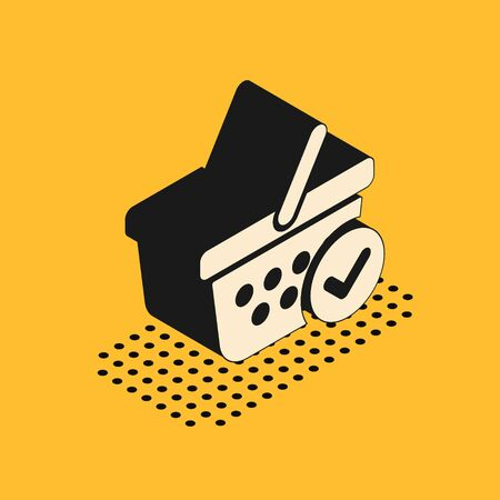 Isometric Shopping basket with check mark icon isolated on yellow background. Supermarket basket with approved, confirm, tick, completed symbol.  Vector Illustration Illustration