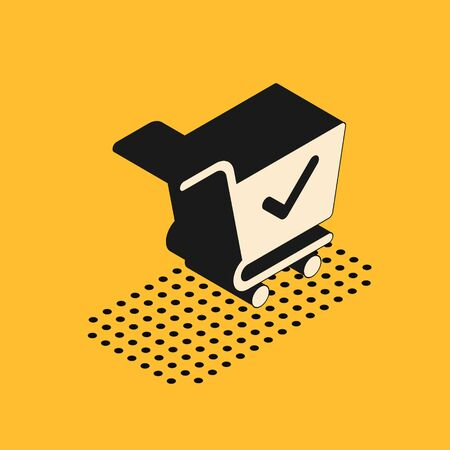 Isometric Shopping cart with check mark icon isolated on yellow background. Supermarket basket with approved, confirm, done, tick, completed symbol.  Vector Illustration