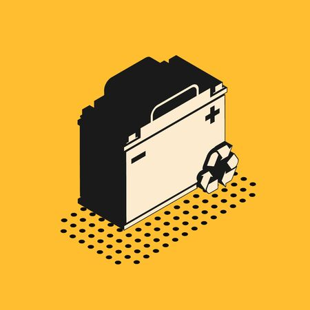 Isometric Car battery with recycle icon isolated on yellow background. Accumulator battery energy power and electricity accumulator battery.  Vector Illustration Иллюстрация