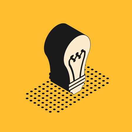 Isometric Light bulb icon isolated on yellow background. Energy and idea symbol. Lamp electric.  Vector Illustration