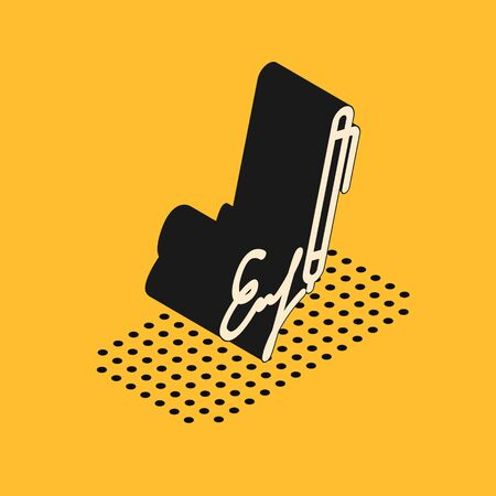 Isometric Signature line icon isolated on yellow background. Pen and undersign, underwrite, ratify symbol.  Vector Illustration