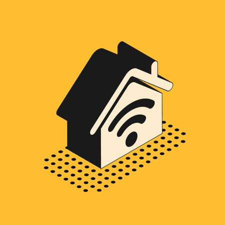 Isometric Smart home with wi-fi icon isolated on yellow background. Remote control. Vector Illustration