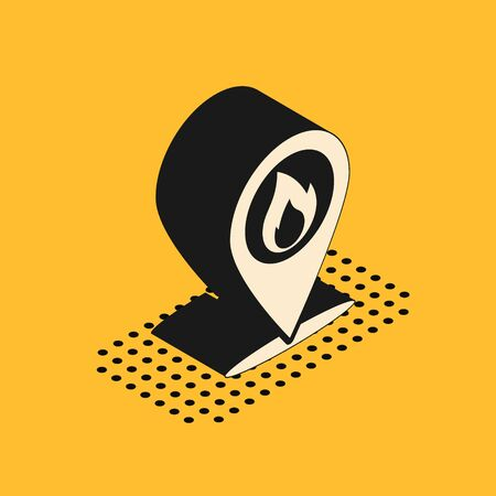 Isometric Map pointer with fire flame icon isolated on yellow background. Fire nearby. Vector Illustration