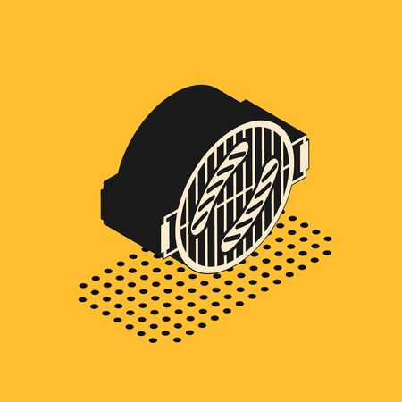 Isometric Barbecue grill with sausage icon isolated on yellow background. BBQ grill party. Vector Illustration