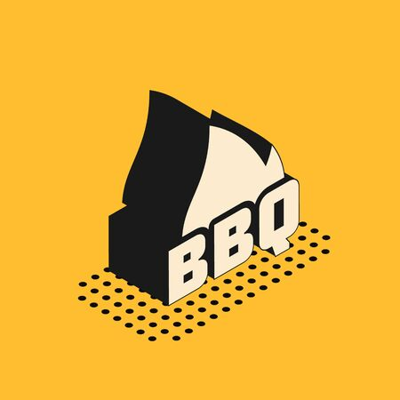 Isometric Barbecue fire flame icon isolated on yellow background. Heat symbol. BBQ grill party. Vector Illustration