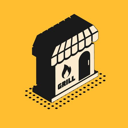 Isometric Barbecue shopping building or market store icon isolated on yellow background. BBQ grill party. Shop construction. Vector Illustration 스톡 콘텐츠 - 134628504