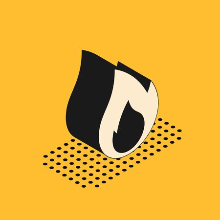 Isometric Fire flame icon isolated on yellow background. Heat symbol. Vector Illustration Ilustrace
