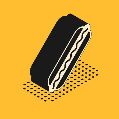 Isometric Hotdog sandwich with mustard icon isolated on yellow background. Sausage icon. Fast food sign. Vector Illustration 스톡 콘텐츠 - 134628511