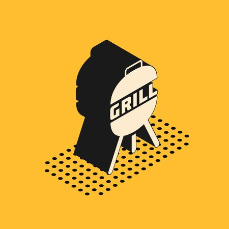 Isometric Barbecue grill icon isolated on yellow background. BBQ grill party. Vector Illustration 스톡 콘텐츠 - 134628515