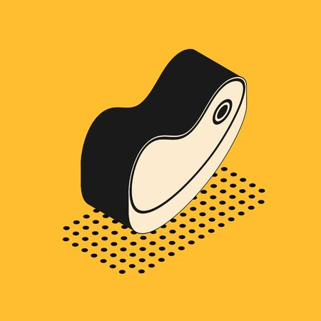 Isometric Steak meat icon isolated on yellow background. Vector Illustration