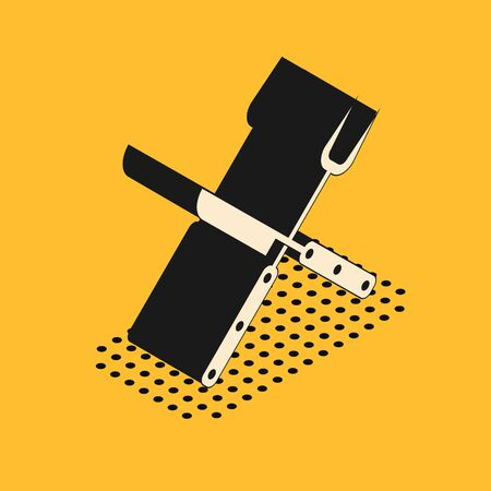 Isometric Crossed fork and knife icon isolated on yellow background. BBQ fork and knife sign. Barbecue and grill tools. Vector Illustration 일러스트