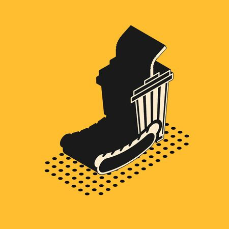 Isometric Soda and hotdog icon isolated on yellow background. Fast food symbol. Vector Illustration 일러스트