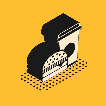 Isometric Coffee and burger icon isolated on yellow background. Fast food symbol. Vector Illustration