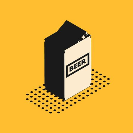 Isometric Beer can icon isolated on yellow background. Vector Illustration 일러스트