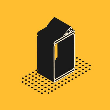 Isometric Aluminum can icon isolated on yellow background. Vector Illustration