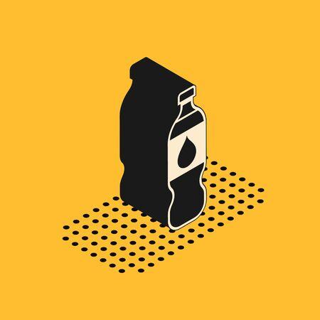 Isometric Bottle of water icon isolated on yellow background. Soda aqua drink sign. Vector Illustration 일러스트
