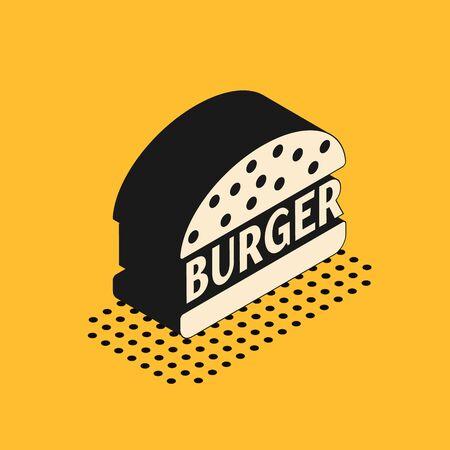 Isometric Burger icon isolated on yellow background. Hamburger icon. Cheeseburger sandwich sign. Vector Illustration