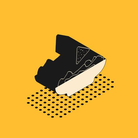 Isometric Nachos in plate icon isolated on yellow background. Tortilla chips or nachos tortillas. Traditional mexican fast food. Vector Illustration 스톡 콘텐츠 - 134628549