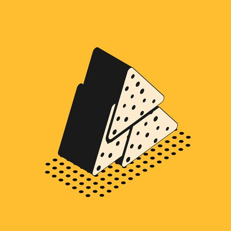Isometric Nachos icon isolated on yellow background. Tortilla chips or nachos tortillas. Traditional mexican fast food. Vector Illustration