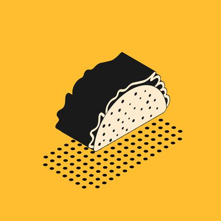 Isometric Taco with tortilla icon isolated on yellow background. Traditional mexican fast food. Vector Illustration 일러스트