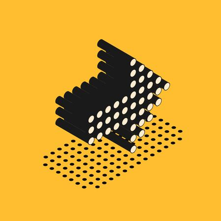 Isometric Dots arrow icon isolated on yellow background. Halftone arrow. Dotted arrow sign. Vector Illustration 스톡 콘텐츠 - 134628569