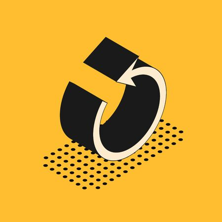 Isometric Refresh icon isolated on yellow background. Reload symbol. Rotation arrow in a circle sign. Vector Illustration 스톡 콘텐츠 - 134628572
