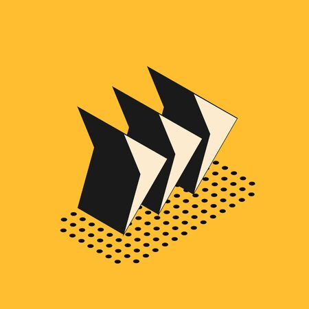 Isometric Arrow icon isolated on yellow background. Direction Arrowhead symbol. Navigation pointer sign. Vector Illustration 일러스트