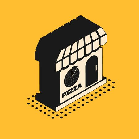 Isometric Pizzeria building facade icon isolated on yellow background. Fast food pizzeria kiosk. Vector Illustration