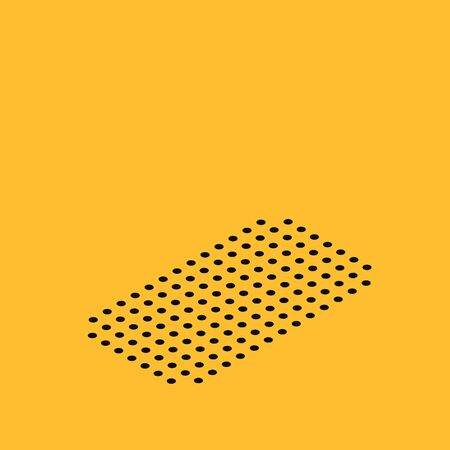 Isometric Pizza in cardboard box icon isolated on yellow background. Box with layout elements. Vector Illustration
