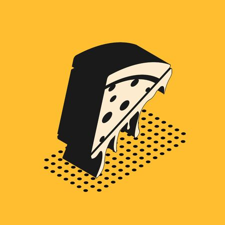 Isometric Slice of pizza icon isolated on yellow background. Vector Illustration