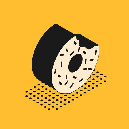 Isometric Donut with sweet glaze icon isolated on yellow background. Vector Illustration 일러스트