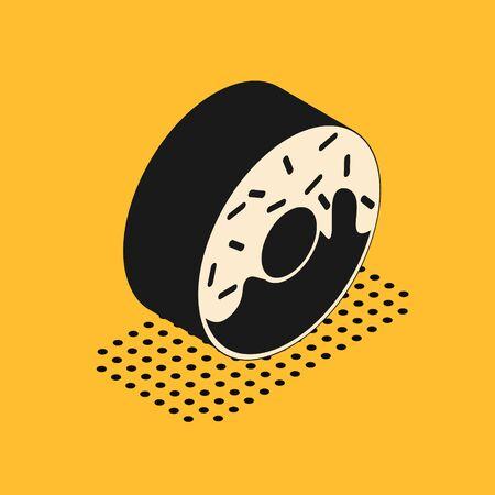 Isometric Donut with sweet glaze icon isolated on yellow background. Vector Illustration 스톡 콘텐츠 - 134628601