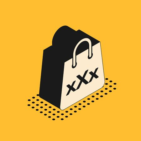 Isometric Shopping bag with a triple X icon isolated on yellow background. Vector Illustration