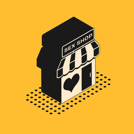Isometric Sex shop building with striped awning icon isolated on yellow background. Sex shop, online sex store, adult erotic products concept. Vector Illustration 일러스트