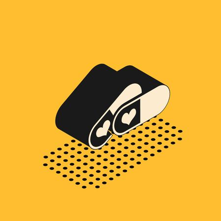Isometric Pills for potency, aphrodisiac icon isolated on yellow background. Sex pills for men and women. Vector Illustration