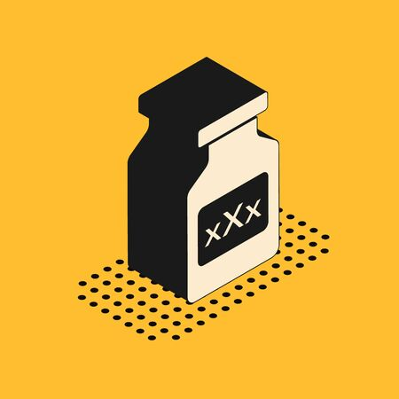 Isometric Medicine bottle with pills for potency, aphrodisiac icon isolated on yellow background. Sex pills for men and women. Vector Illustration 스톡 콘텐츠 - 134628614