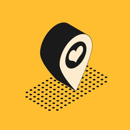 Isometric Map pointer with heart icon isolated on yellow background. Vector Illustration