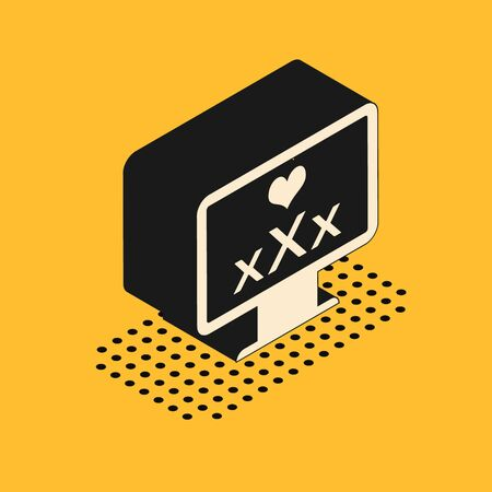 Isometric Computer monitor with 18 plus content heart icon isolated on yellow background. Age restriction symbol. XXX content sign. Adult channel. Vector Illustration