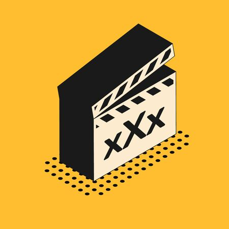Isometric Movie clapper with inscription XXX icon isolated on yellow background. Age restriction symbol. 18 plus content sign. Adult channel. Vector Illustration