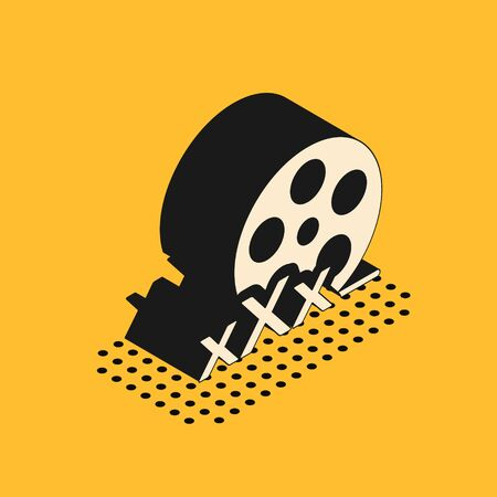 Isometric Film reel with inscription XXX icon isolated on yellow background. Age restriction symbol. 18 plus content sign. Adult channel. Vector Illustration 스톡 콘텐츠 - 134628625